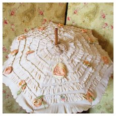 Antique Doll Parasol Ruffles Silk Rosettes Carved Handle