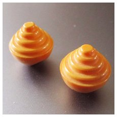Vintage Butterscotch Bakelite Conical Buttons Set