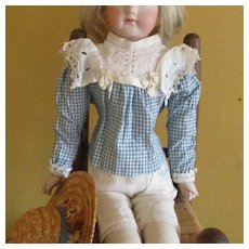 Vintage Fashion Doll Gingham Lace Blouse & Straw Hat & Skirt For Repair