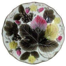 Wedgewood Majolica  Grape leaf and Strawberry Plate 19th C