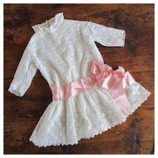 Antique Lace Eyelet Drop Waist Dress For Larger Doll or Little Girl