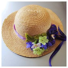 Straw Hat Silk Flowers Velvet Leaves Ribbons