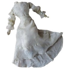 Exquisite Antique Silk Crepe 2 Pc. Dress For Fashion Doll With Train