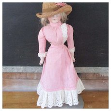 Pink Gingham Walking 2 piece Dress Fashion Doll