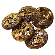 Mirrored Gilt Paisley Metal Buttons