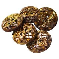 Mirrored Gilt Paisley Metal Buttons