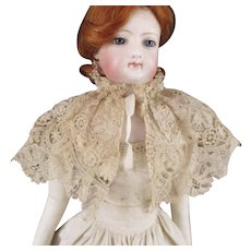Brussels Pointe De Gaze Needlepoint Lace Cape-let For Fashion Doll