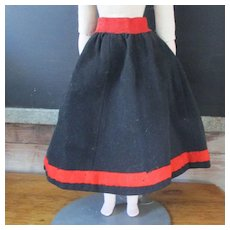 Old Serge Wool Doll Skirt Red TRim