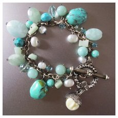 Retired Goddess Sterling Bracelet Turquoise Freshwater Pearls Crystals