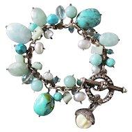 Retired Goddess Sterling Bracelet Turquoise Freshwater Pearls Crystals