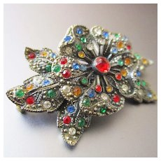 Art Deco Multi Colored Trembler Flower Christmas Brooch