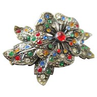 Art Deco Multi Colored Trembler Flower Brooch