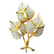 Hattie Carnegie Pave Heart Shaped Leaves Statement Brooch