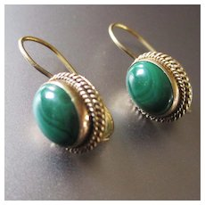 Elegant Vermeil Malachite Cabochon Pierced Earrings