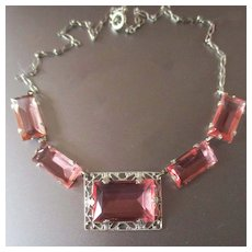 Art Deco Pink Glass Filigree Necklace