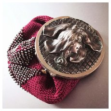 Art Nouveau Coin Purse Flower Head Woman
