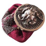 Art Nouveau Coin Purse Flower Head Woman