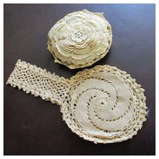 Pretty Doll Sized Irish Crocheted Reticule With Flower Cushion