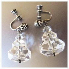 Chunky Tiered Art Deco Rock Crystal Earrings