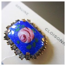 Petite Rose Cloisonne Brooch On Original  Card