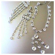 Art Deco Bezel Set Rock Crystal Sterling Necklace  & Earring Set Wedding