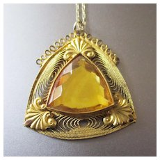 Czech Art Deco Citrine Filigree Pendant