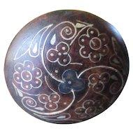 RARE Bog Oak Inlaid Sterling Hat Pin Shamrocks