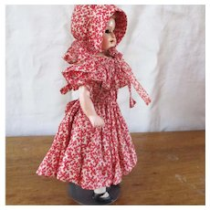 Cutest Dimity Calico Ruffled Dress & Bonnet