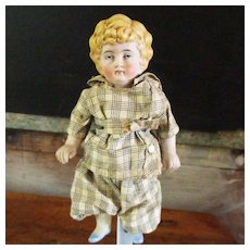 "7"" German Molded Hair Painted Eyes # 8 1/2  Boy or Or Girl Original Outfit Provenance"