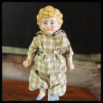 """7"""" German Molded Hair Painted Eyes # 8 1/2  Boy or Or Girl Original Outfit Provenance"""