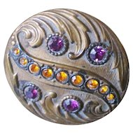 Victorian Repousse Gilt Brass Paste Hat Pin
