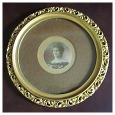 19C Round Wood Plaster  Portrait Frame Acanthus Leaves, Lovely Woman