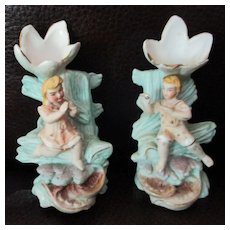 "Tiny 3"" Bisque Bud Vases Boy & Girl German"