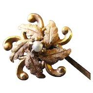 Victorian 12K Pearl Stick Pin Leafy Flower Head
