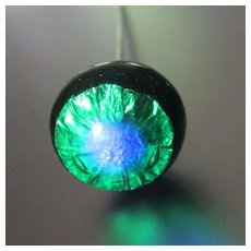 Glass Foiled Peacock Eye Hat Pin