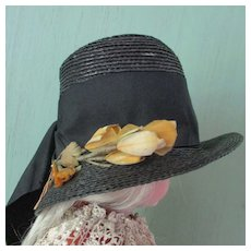 Great Old Stove Pipe Doll Hat French Feather Flowers