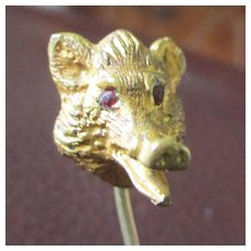 Wonderful Wolf Head Brass Gilt Stick Pin