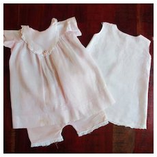3 Piece vintage Pale Pink Baby Doll 1940's Dress Slip Knickers