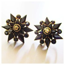Victorian Mourning Gold & Gold Filled Onyx Seed Pearls Star Earrings