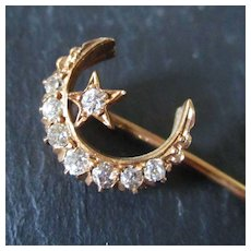 RESERVED FOR PAULA ONLY Victorian 14K Rose Gold Diamond Crescent Moon Star Stick Pin