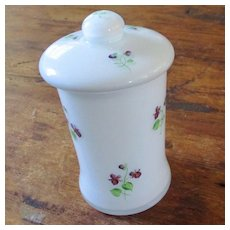 DeVilbiss  Apothecary Jar Encased Milk Glass Violets W. Germany Labels