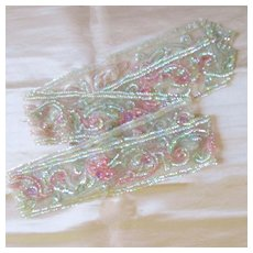 Art Deco Hand Sequined net Lace Long Sash