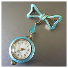 Enameled Sterling Guilloche Pendant Bow Watch Atlanta Geneve