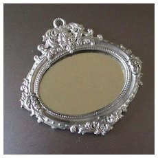 German Antique Soft Metal Ornate Ormolu Silver Dollhouse Mirror