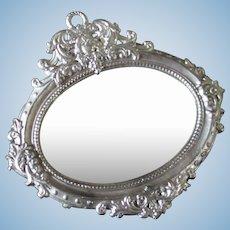 German Antique Soft Metal Ornate Ormolu Silver Dollhouse Mirror