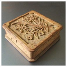 Antique Hand Carved Wood Pocket Watch Box & Display