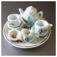 German milk Glass Tiny Dollhouse Tea Set Complete