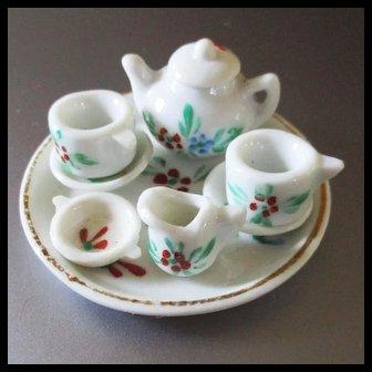 German milk Glass Tiny Dollhouse Tea Set Complete