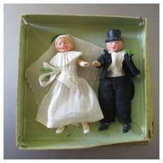 Bride & Groom 1930's Cake Topper