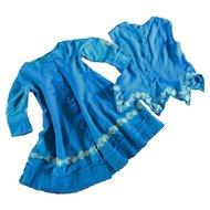 Antique Victorian Large Doll 2 Piece Dress Pleats & Soutache